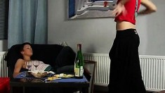 Guzell and Flora have some drinks and indulge in steamy lesbian sex
