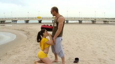 She Starts Blowing On The Beach, Goes In To Fuck And Get It Up Her Butt
