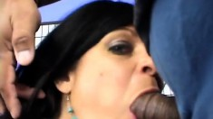 Curvaceous brunette mom in stockings loves to take it deep from behind