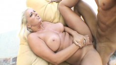 Bodacious blonde goddess Emilianna relishes a rough drilling outside