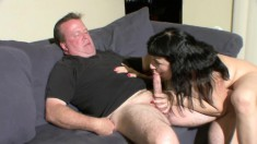 An amateur couple are getting it on and her big tits bounce while fucking