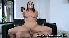 Gracie Glam gets naked after sucking his schtick then gets stunted