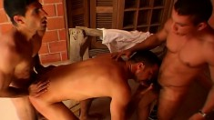 Gay construction workers take a break and it turns into a threesome