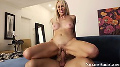 Erica Lauren uses her mouth and pussy on his cock, Happy Birthday!!