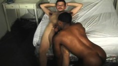 Skinny white guy gets to drill this black hunk's inviting tailpipe