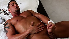 The young stud only stops stroking his dick when it bursts with intense pleasure