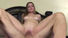 Saucy young sweetheart opens her legs to play with her sweet pussy and get fucked from behind