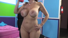 Cougar in heat with marvelous big hooters can't resist a black shaft