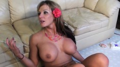 Busty babe Nikki Sexxx takes a pole up her butt and moans with delight