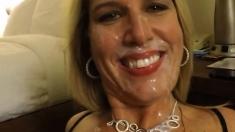 Hot amateur blonde sucks dick and takes a big POV facial