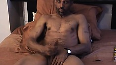Black dude Danger shows off his big cock while he jerks on it