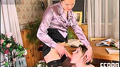 Sexy lesbian babe gets down to fulfill her mistress's kinky desires