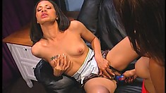 Hot babes Obsession and Page enjoy a wild lesbian experience with the help of dildos