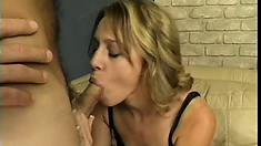 Sweet blonde with tiny tits Lexi Mathews sucks a dick and bounces on it with desire
