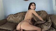 He's pounding her wet cunt all over the couch and fingers her ass