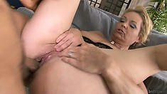 Wife catches her hubby as he licks and fucks her mommy while she was gone