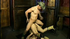 Cock-sucking cowboy gets more than he bargained for at the bar