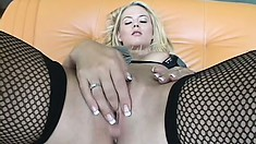 Unique young blonde whore in black stockings is having nice banging