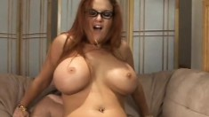 Buxom redhead milf is in need of a stiff prick drilling her wet pussy