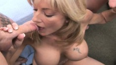 Busty blonde MILF gets the fucking of a lifetime with two dicks